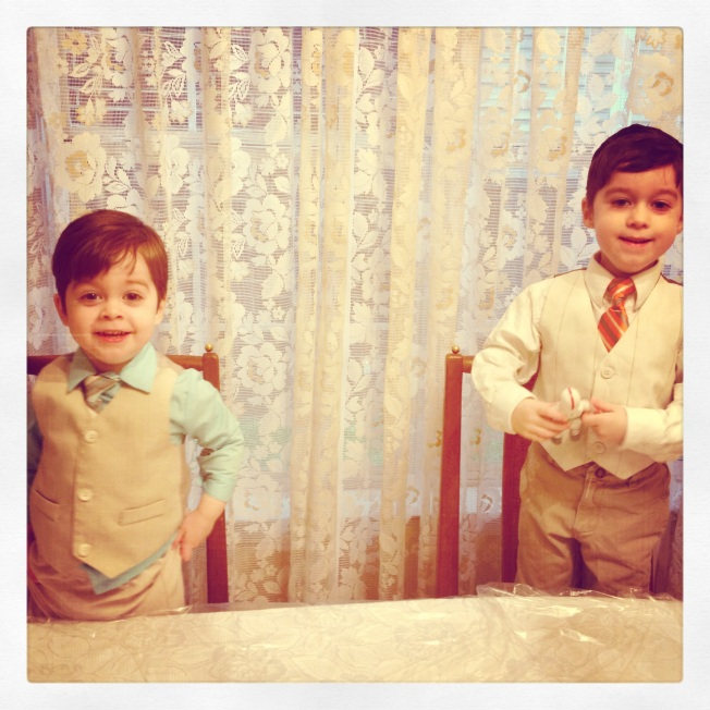 My boys, excitedly anticipating the Pesach Seder.  That's been instrumental in Indoctrinating children for thousands of years